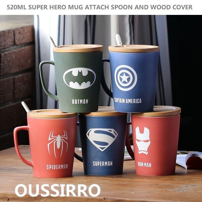 AliExpress Tasse de Super héros avec couvercle en bois et cuillère, tasse de couleur Pure, cadeau d'outil de