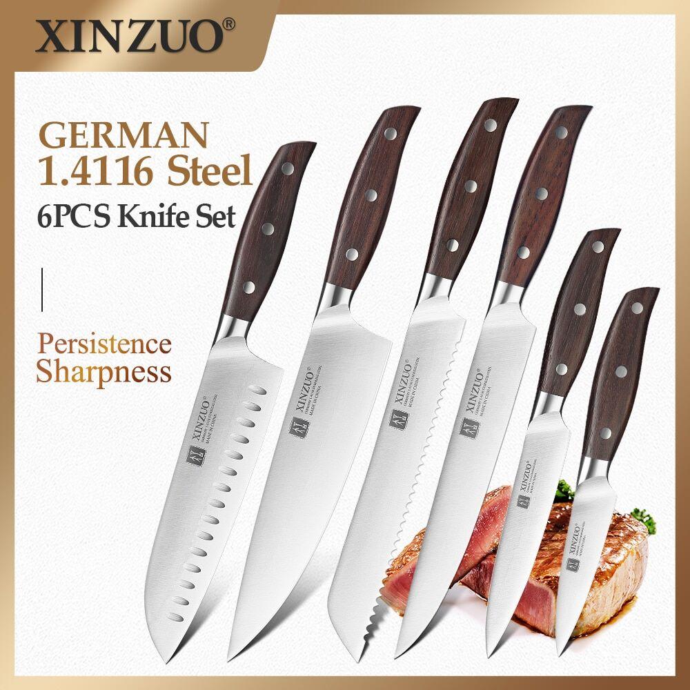 AliExpress XINZUO ensemble de 6 couteaux de cuisine, couperet utilitaire, couteaux à pain de Chef, couteau de