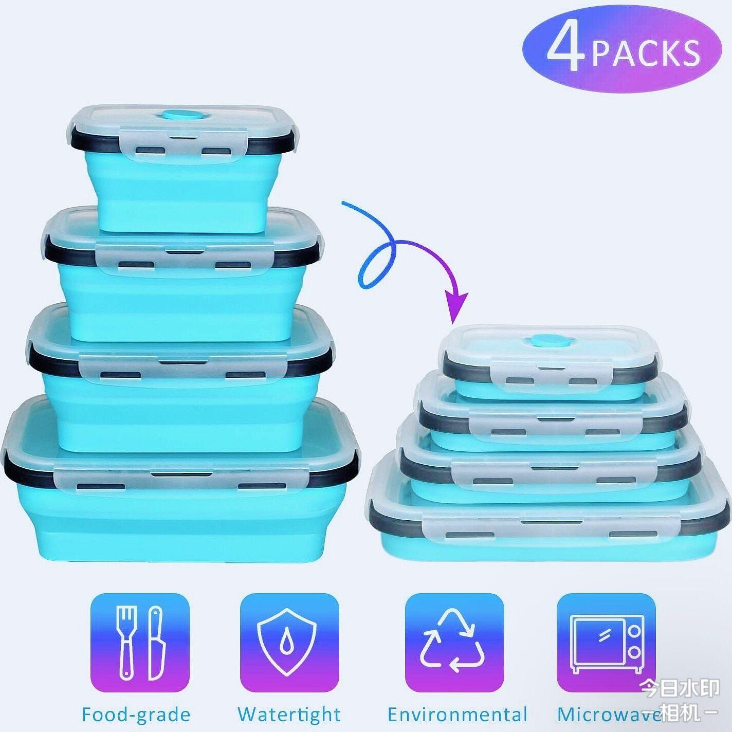 AliExpress Bol Portable en Silicone écologique Bento coloré pliable, micro-ondes chauffant, récipient de