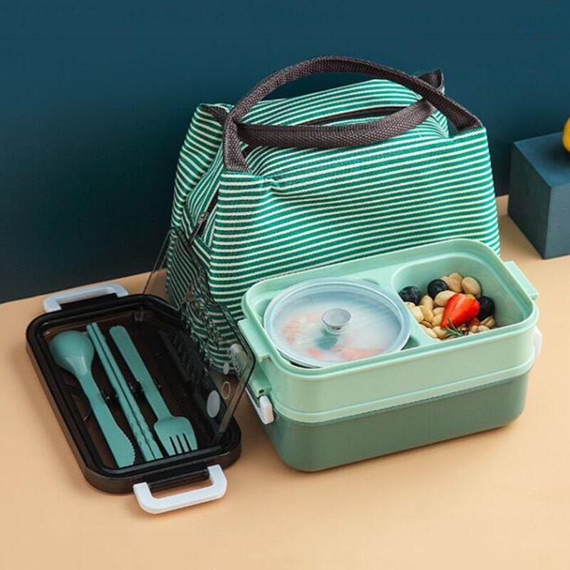 AliExpress Boîte à déjeuner Double couche en acier inoxydable avec bol à soupe, boîte à Bento étanche, ensemble