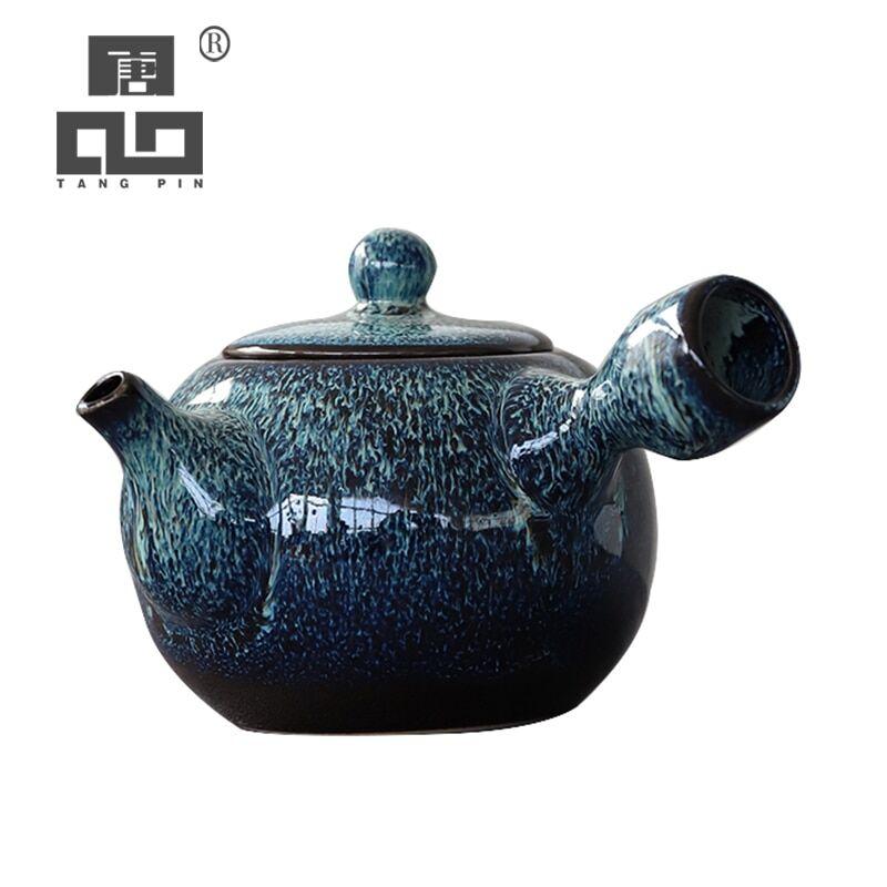 AliExpress TANGPIN – théière kyusu en céramique, bouilloire, théière chinoise bleue, verres, 280ml