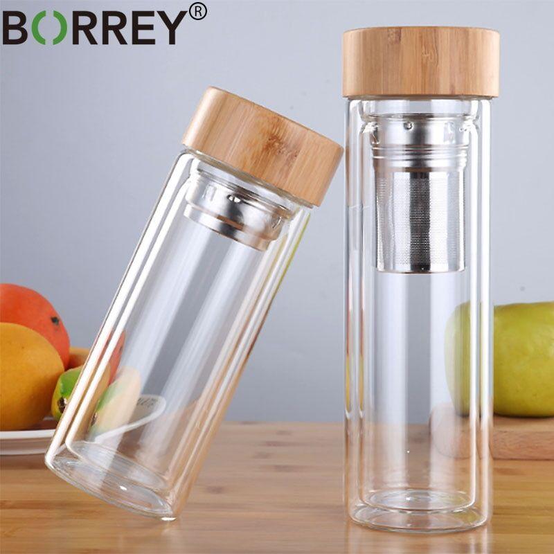 AliExpress BORREY 450Ml bouteille d'eau en verre Anti-brûlure Double paroi bouteille de thé avec infuseur