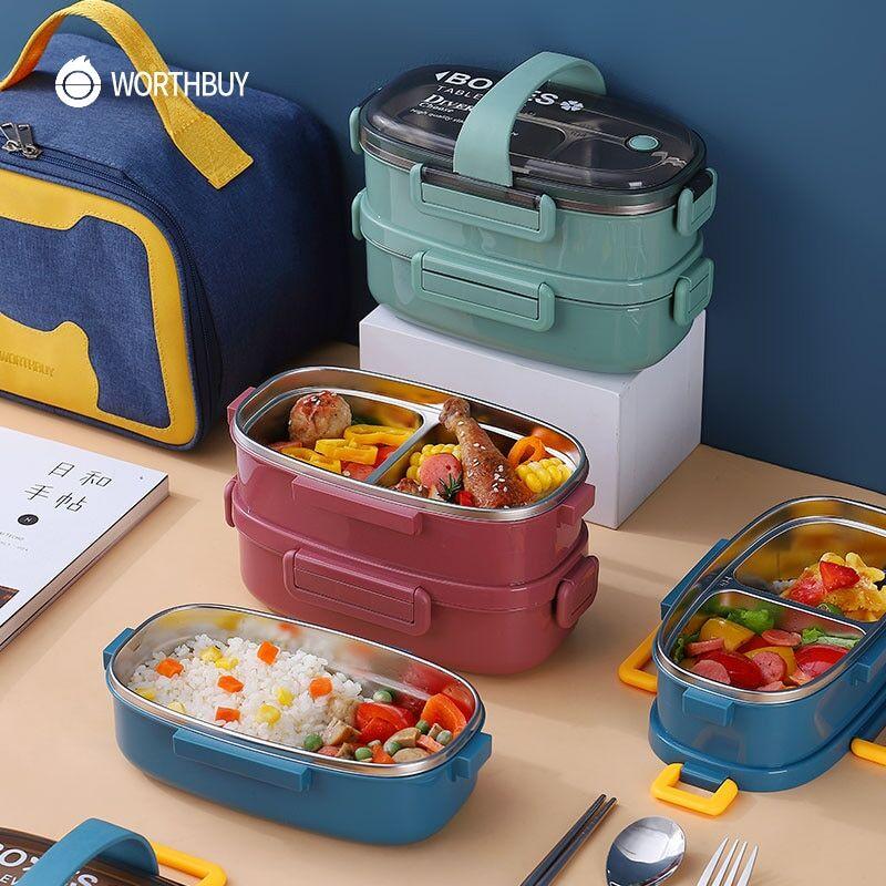 AliExpress WORTHBUY Boîte à déjeuner Portable pour enfants femmes, boîte à Bento pour l'école de pique-nique,