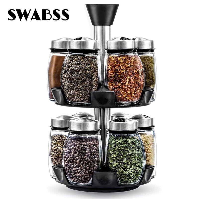 AliExpress tagère à épices rotative, organisateur, outil d'assaisonnement, bol à sucre en verre, pot à sel,
