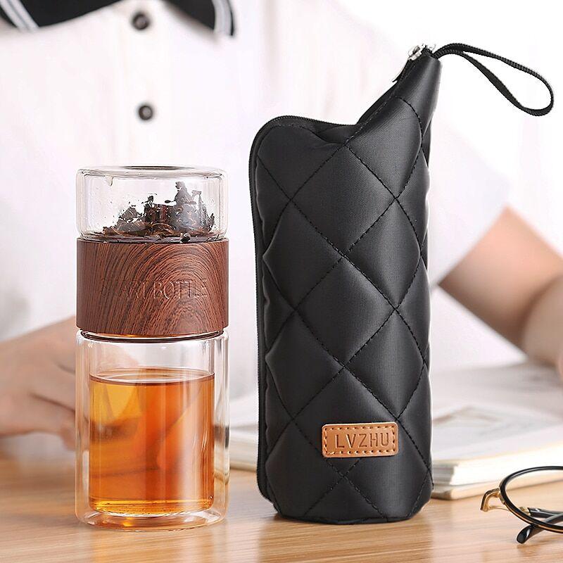 AliExpress Oneisall — bouteille à thé nomade, en verre, et à double paroi, gourde pour infusion, avec filtrer