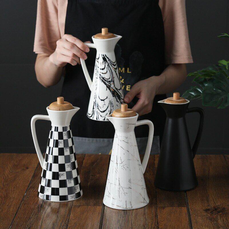 AliExpress Pot à épices en céramique avec couvercle en bois scellé, fournitures de cuisine, Pot de vinaigre de