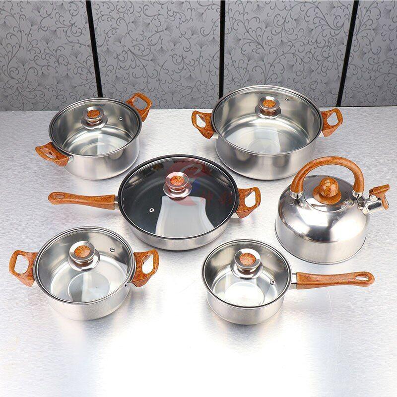 AliExpress Ensemble d'ustensiles de cuisine en acier inoxydable, 6 pièces/ensemble, Casseroles, plats