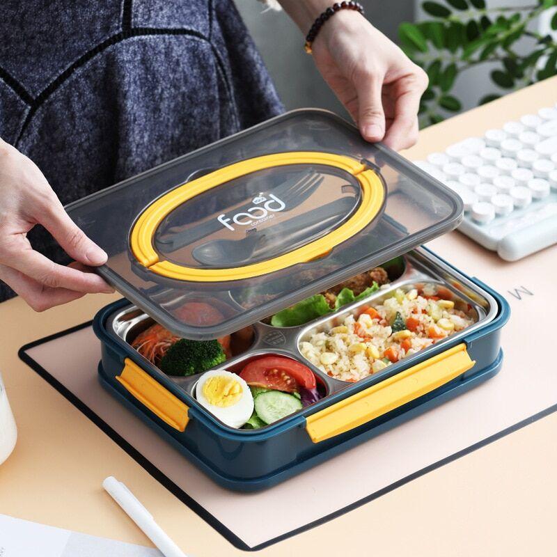bento Boîte à Bento de Style japonais, boîte à déjeuner en acier inoxydable, chauffe-nourriture, boîte à