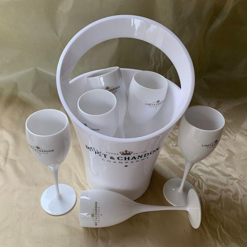 AliExpress Seau à glace et verre à vin en acrylique, verres à champagne, pour mariage, Bar, fête, refroidisseur