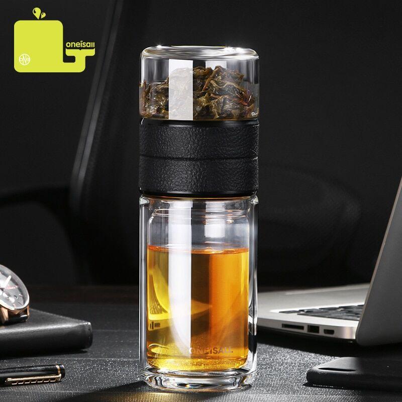 AliExpress Oneisall – bouteille en verre avec infuseur, gobelet à Double paroi de 520ml, pour thé et eau en