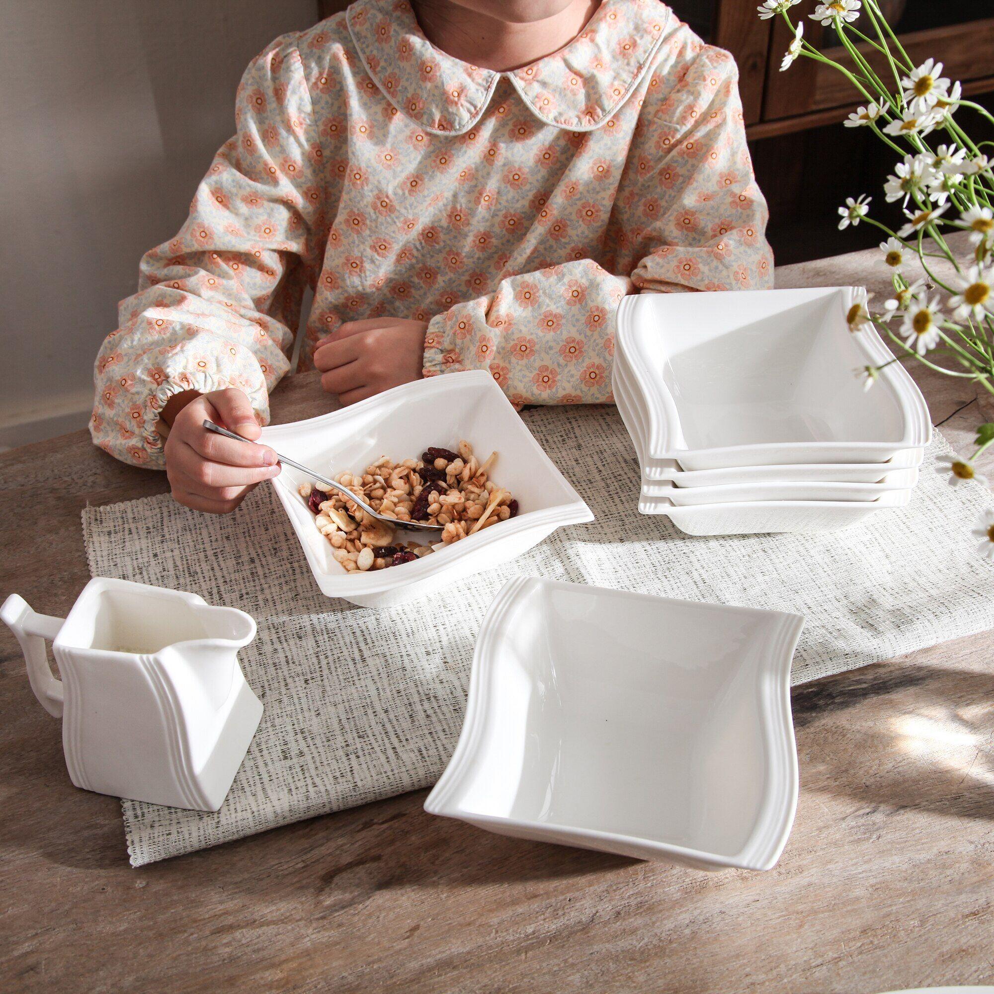 AliExpress MALACASA – bols à soupe carrés en porcelaine blanche, 6 pièces, pour céréales et flocons d'avoine,