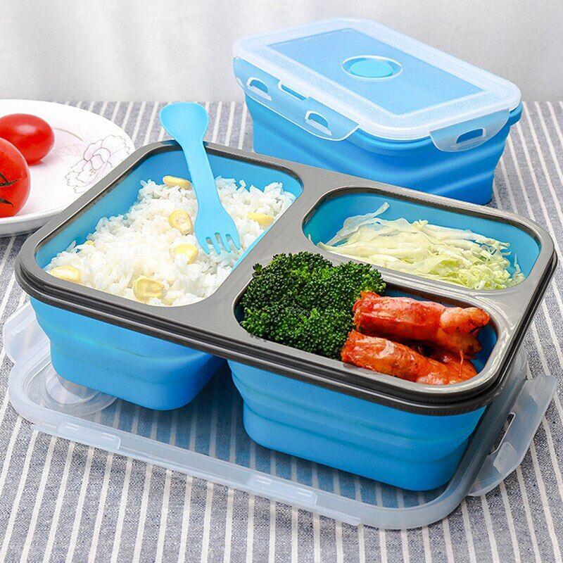 AliExpress Boîte à déjeuner pliable en Silicone, boîte à Bento pliable, voyage en plein air, stockage des