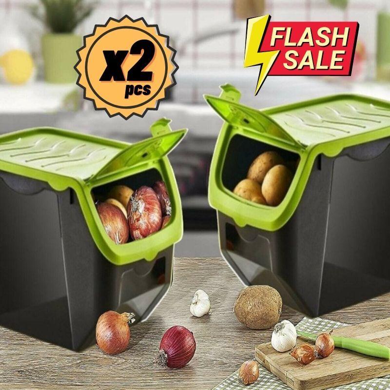 AliExpress Boîte de rangement en plastique, corail, pommes de terre, oignon, ail, récipient alimentaire,