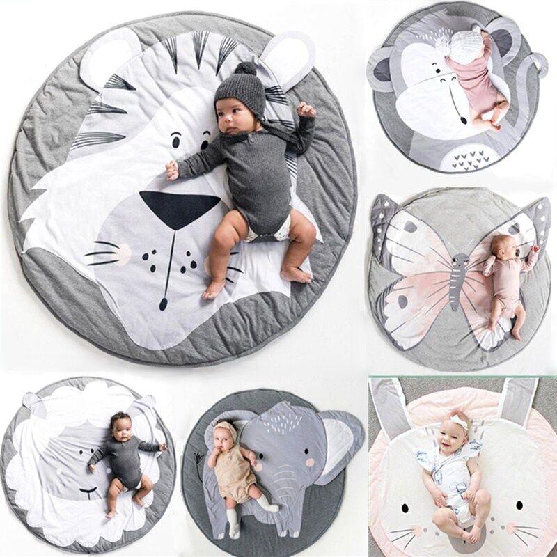 AliExpress Tapis de jeu rond en coton pour bébé, couverture douce pour bébé, Animal rampant, mignon, pour