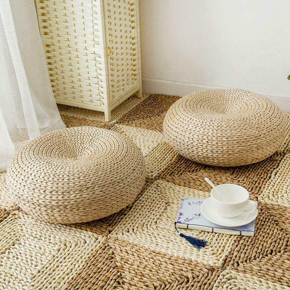 AliExpress Coussin de Tatami rond en paille naturelle, pour chaise, Yoga, méditation, japonais