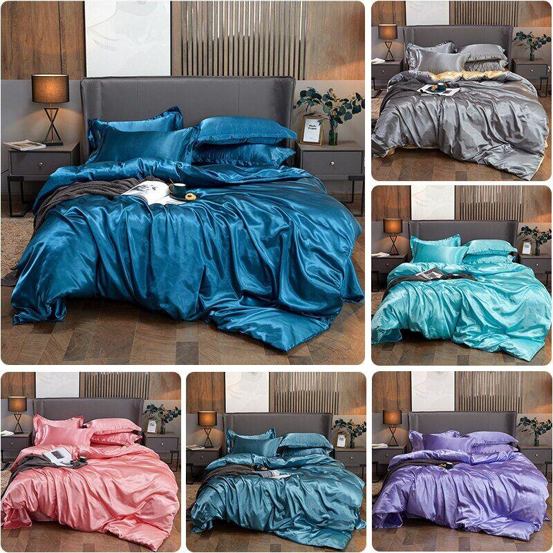 AliExpress Housse de couette en Satin de soie, imitation de luxe, Queen, taille King, lisse, couleur unie, haut