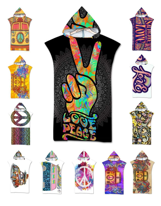AliExpress Grand signe de paix à capuche avec mots d'amour papillon, motif Mandala, serviette de plage, bain de