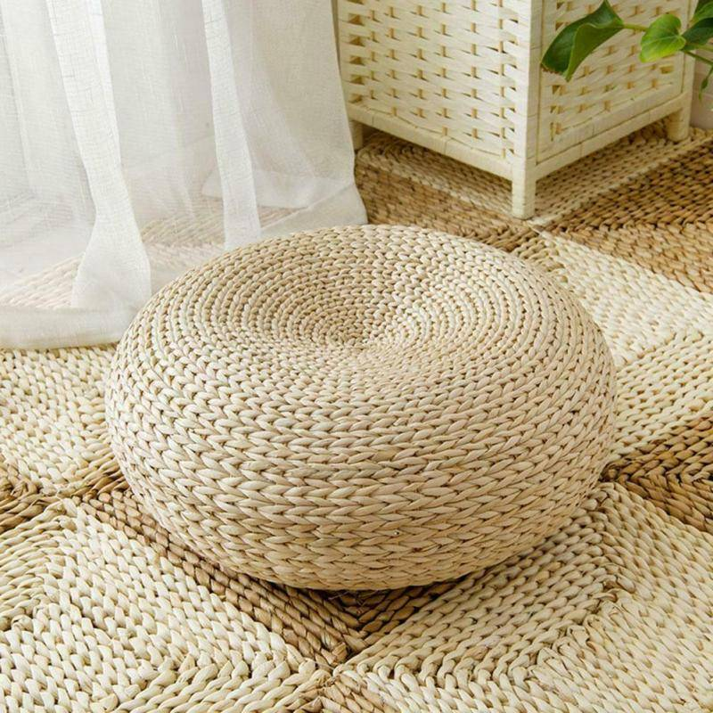 AliExpress Coussin de sol rustique manuel 40x15cm, Pouf de paille, coussin de méditation, décoration de maison,