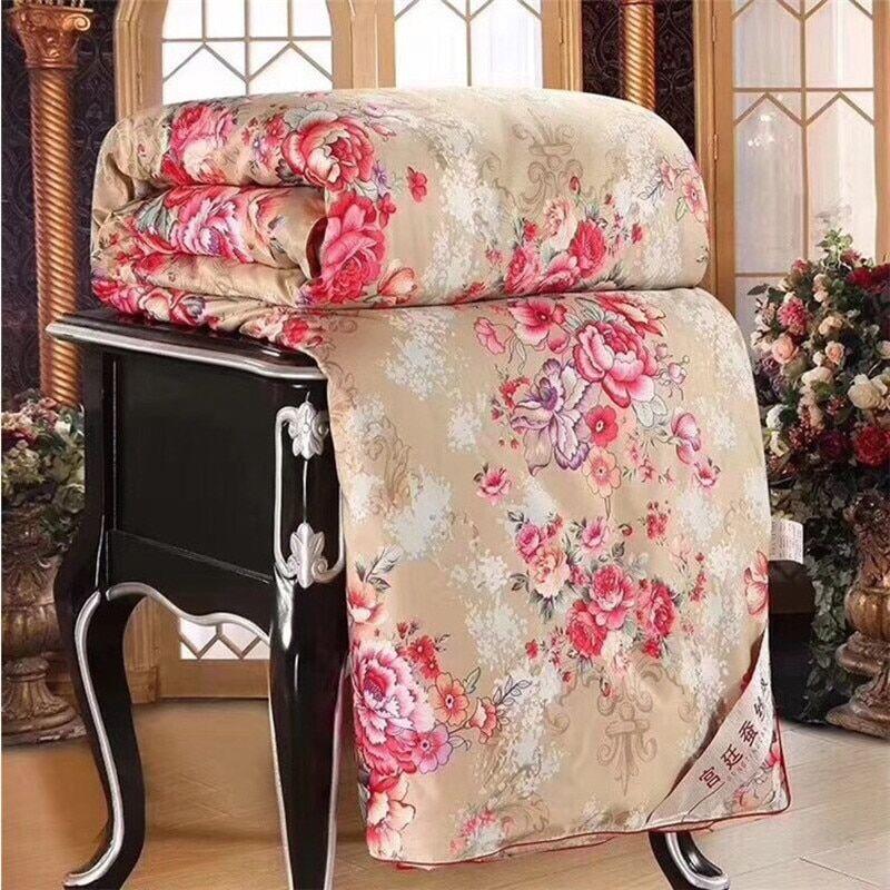 AliExpress LISM – couette en soie à motif Floral, couverture de luxe en soie de mûrier, chaude et douce,