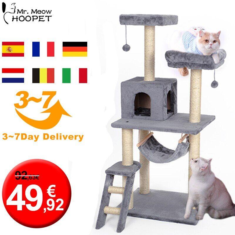 Hoopet – arbre à chat H134cm, grand arbre à chat pour animaux de compagnie, poste à gratter, tour à
