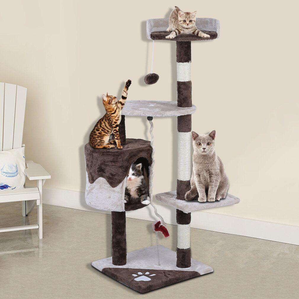 AliExpress Grand cadre d'escalade de 112 cm de hauteur, arbre à chats, animaux rapides, poste à gratter, jouets
