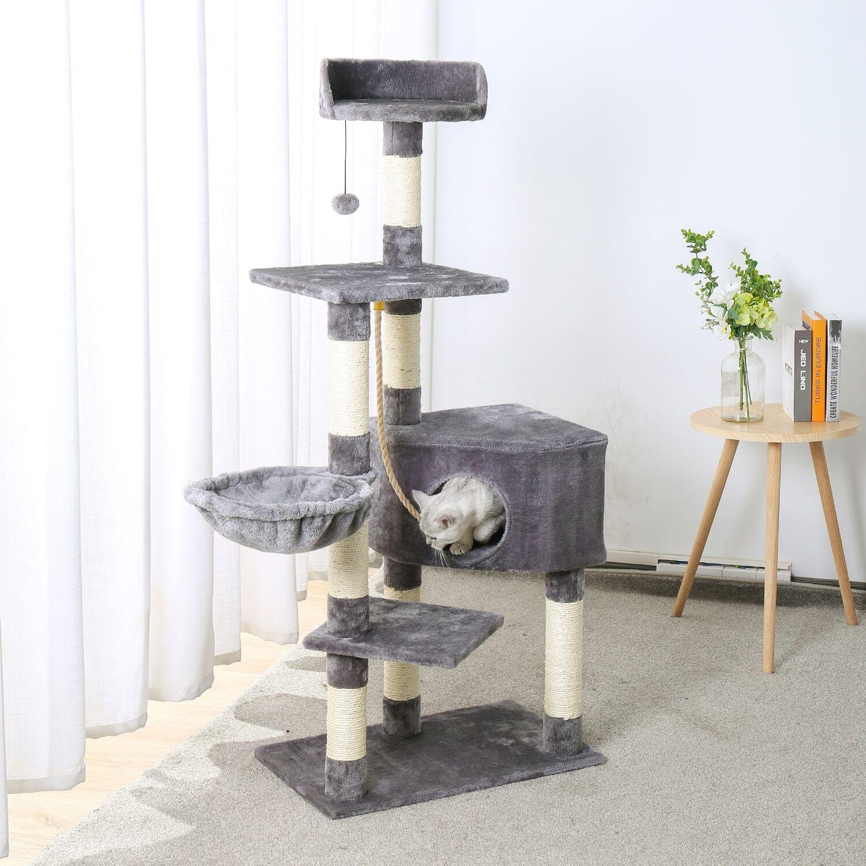 AliExpress Tour d'arbre à chat de luxe, avec doubles compartiments, perchoir spacieux, poste en Sisal à gratter