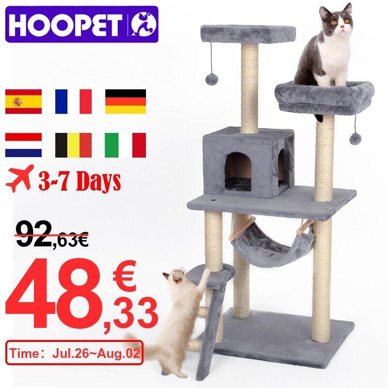 AliExpress HOOPET – arbre à chat avec poteaux à gratter, meuble d'escalade, tour, jouet d'entraînement,
