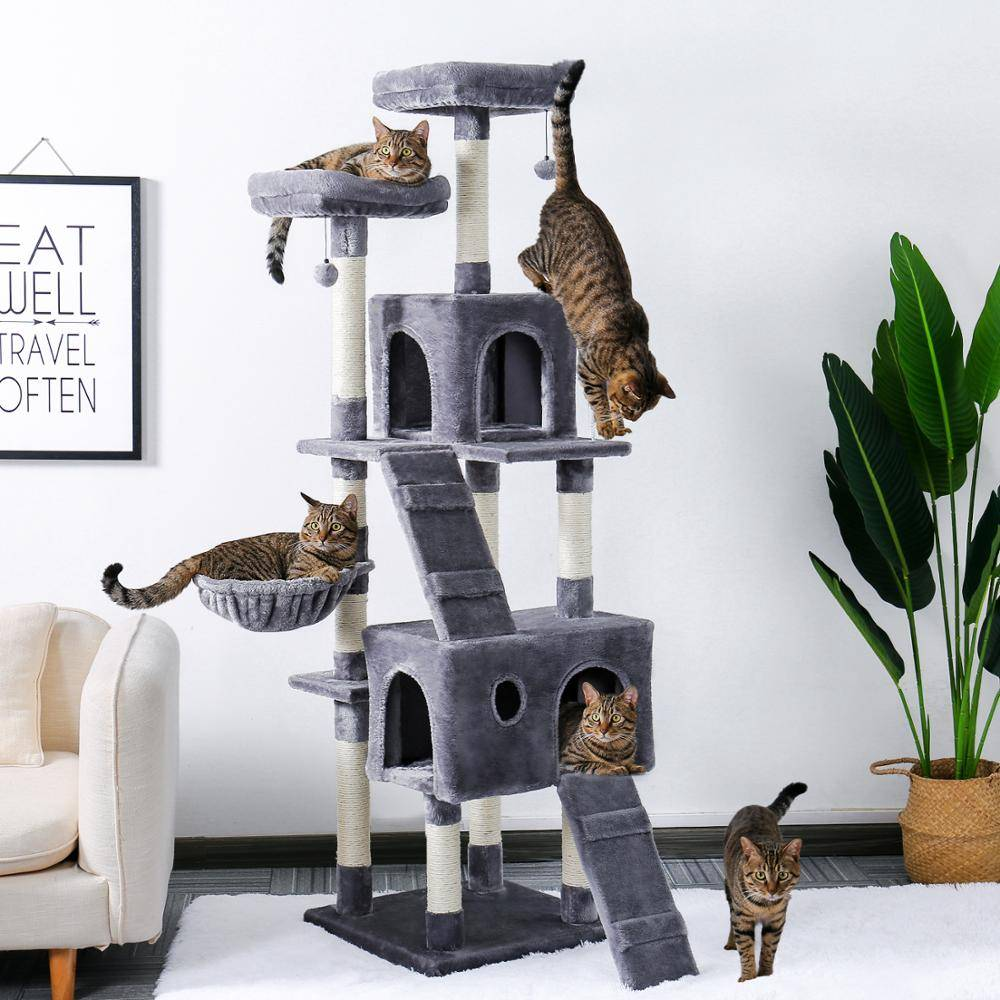 AliExpress Arbre à chats multiniveaux 180 cm, avec perchoirs confortables, cadre d'escalade stable, jouets,