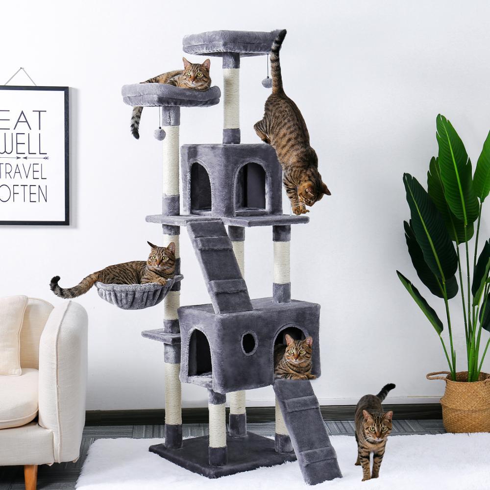 AliExpress Arbre à chat à plusieurs niveaux, 180CM, avec perchoirs confortables, cadre d'escalade Stable,