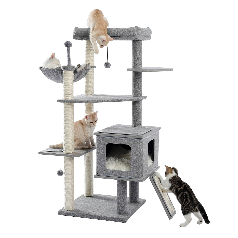 AliExpress Centre d'activité en peluche d'arbre à chat, poste à gratter en Sisal, 2 coussins de maison,