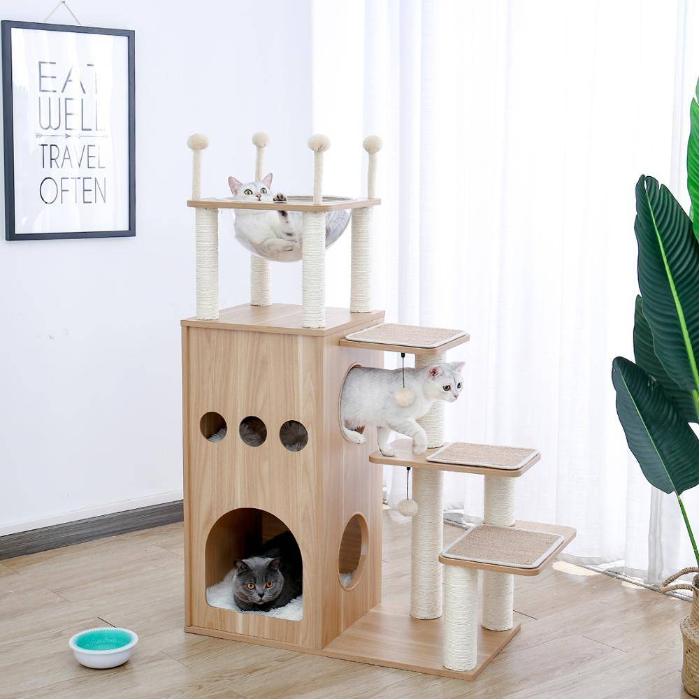 AliExpress Tour d'arbre à chat en bois, livraison rapide, tampons à gratter couverts de Sisal avec boule de jeu