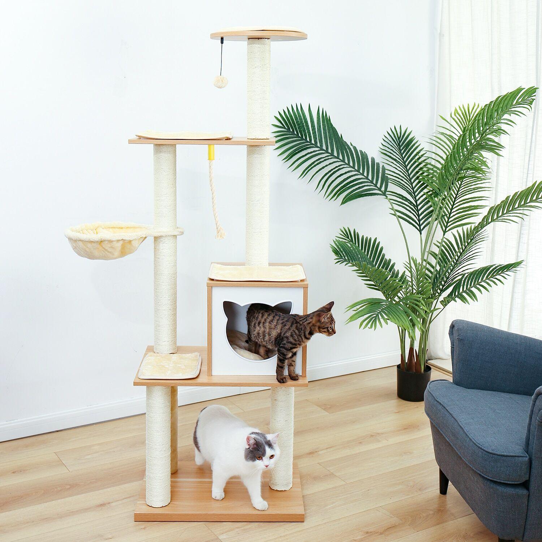 AliExpress Plateforme d'arbre à chat à 5 niveaux pour chats avec des poteaux entièrement à gratter, hamac,