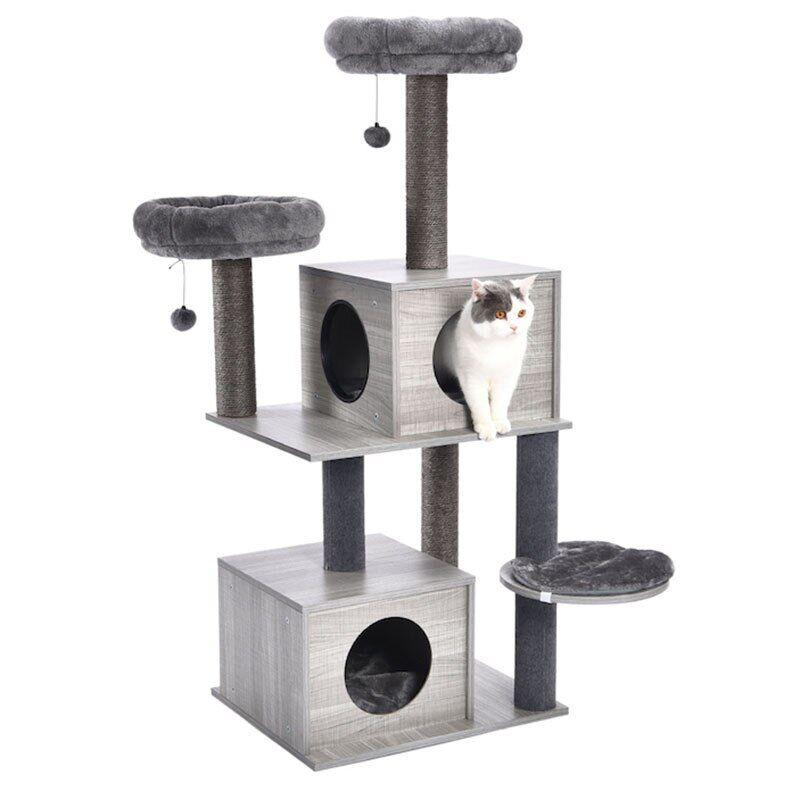 AliExpress Tour d'arbre à chat en bois massif, livraison rapide, Design de meubles, grattoir avec poste à
