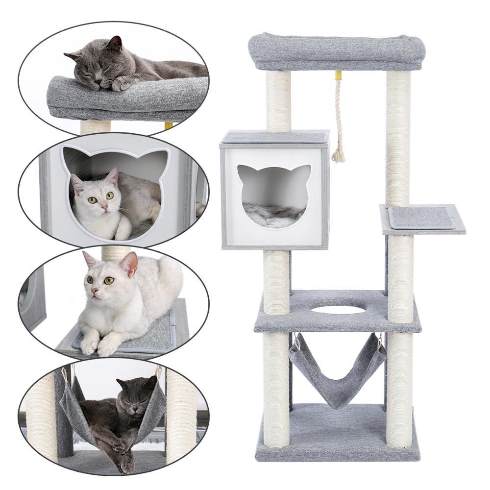 AliExpress Arbre à chat en bois massif, tour de maison avec hamac, tampons de poteau à gratter pour chats et