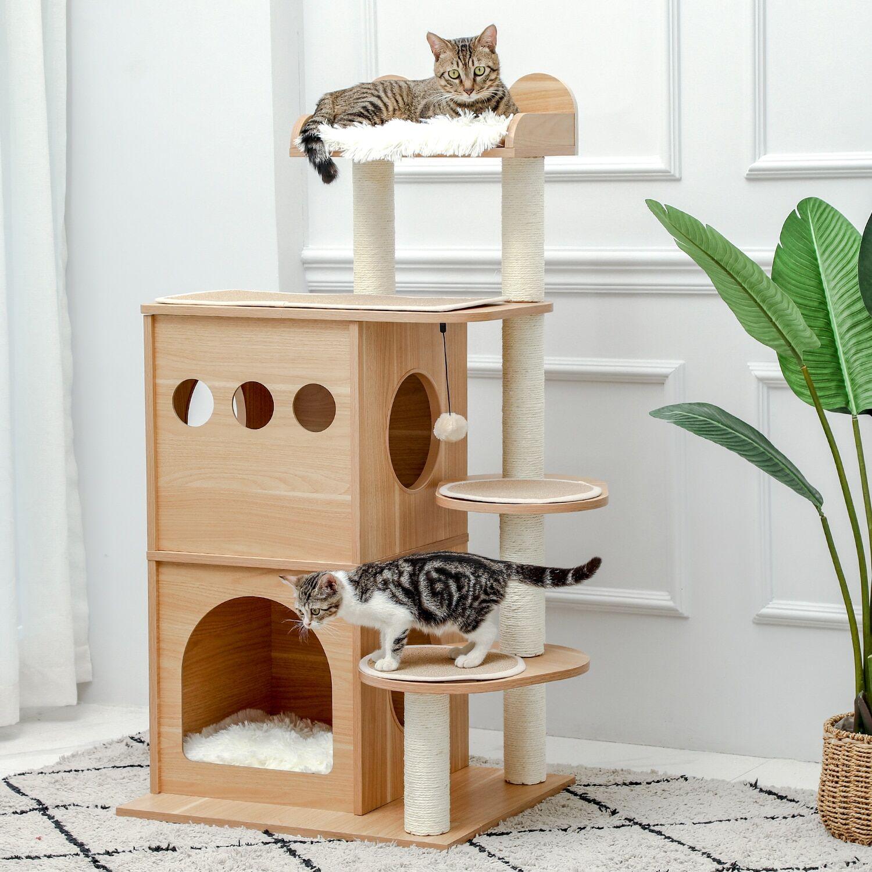 AliExpress Arbre à chat moderne en bois à plusieurs niveaux, tour de grattoir pour chat, nid de luxe, cadre