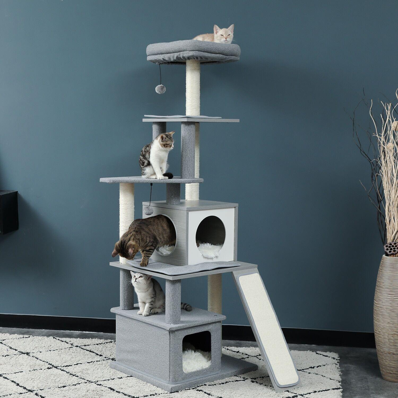 AliExpress Arbre à chat moderne à plusieurs niveaux, tour d'activité pour chats, avec poteaux à gratter en