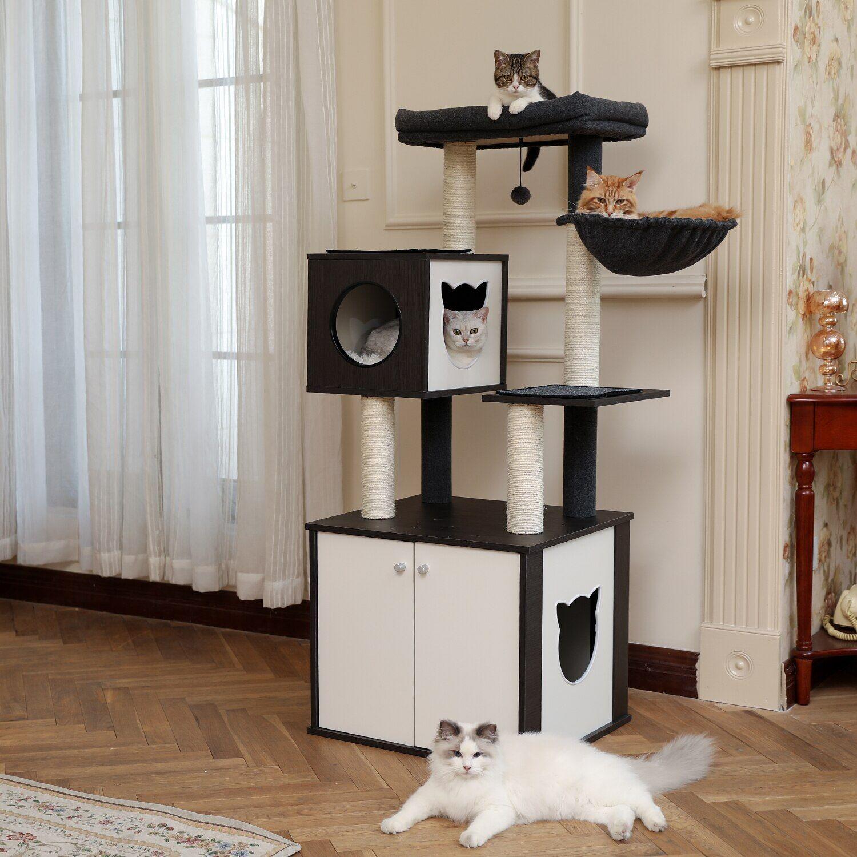 AliExpress Tour d'escalade pour chat en bois, arbre à chat de luxe, niche pour chaton, maison plate-forme de