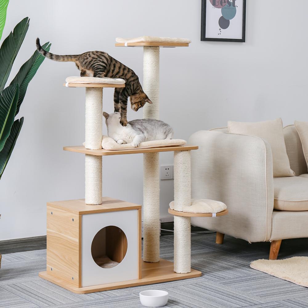 AliExpress Tour type arbre à chats pour animaux domestiques, plusieurs niveaux, avec grattoir en bois, jouets,