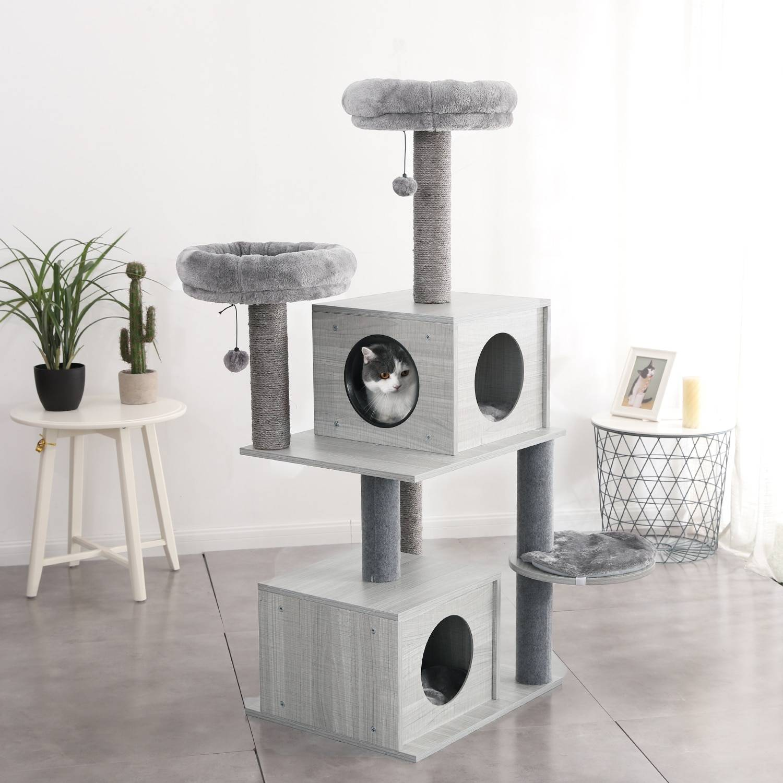 AliExpress Tour d'arbre à chat type maison à étages, jouet avec échelle, pour saut, activités, livraison