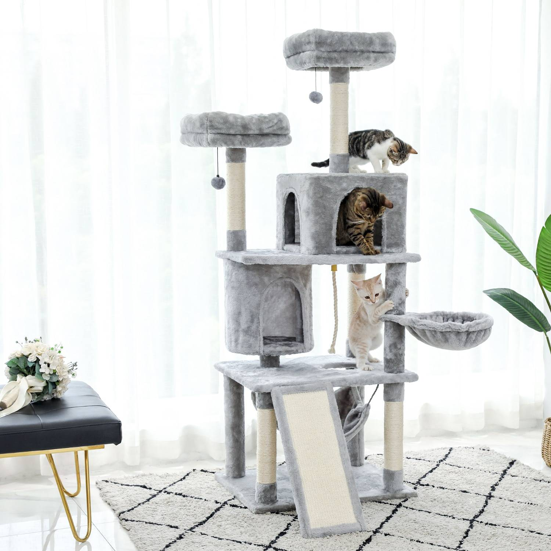 AliExpress Tour d'arbre à chat à plusieurs niveaux, livraison rapide, avec Condos de luxe, pour chaton, poste à