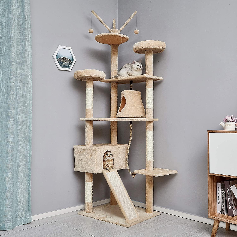 AliExpress Cadre d'escalade type arbre à chats, planche à gratter en sisal pour chaton, jouets, 6 niveaux avec