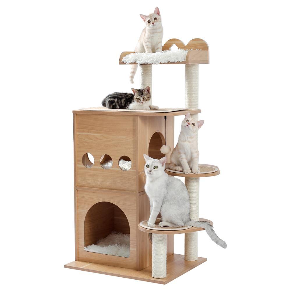 AliExpress Arbre à chat moderne à 5 niveaux, château à ciel de chat avec 2 Condos confortables, perche de luxe