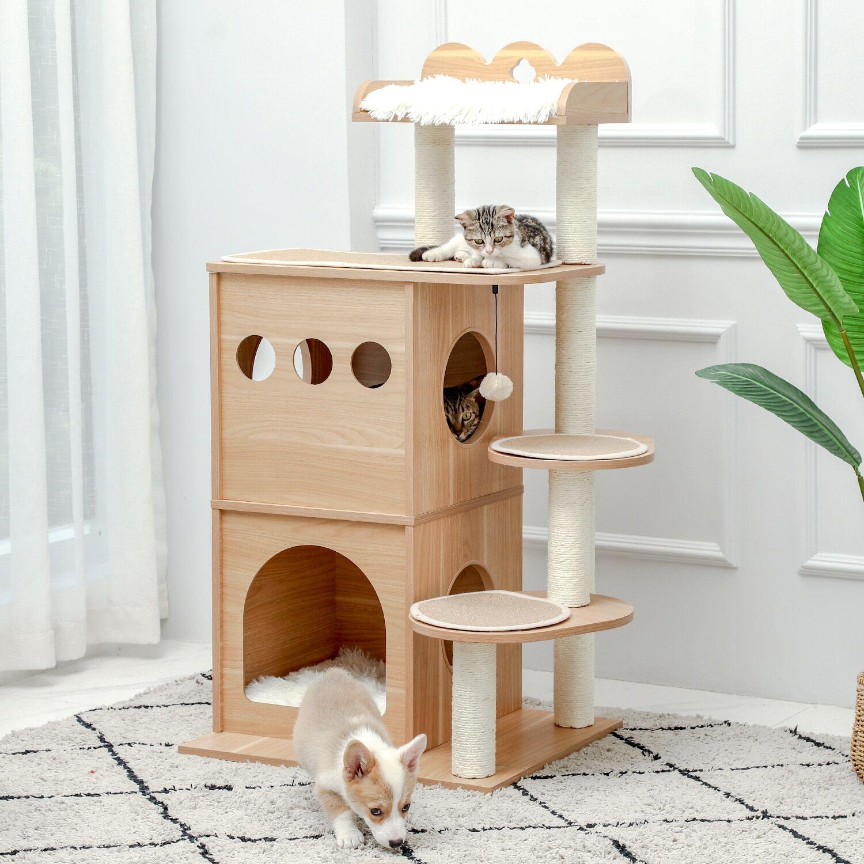 AliExpress Maison d'arbre à chats, centre d'activités pour chats, avec Double perche souple, postes de Sisal à
