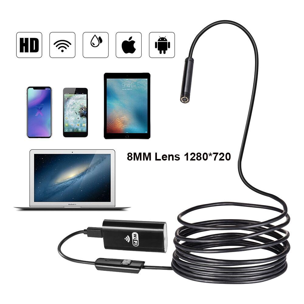 AliExpress Caméra endoscope WIFI 8mm 1/2/3/5M USB, mini câble souple étanche pour inspection, endoscope