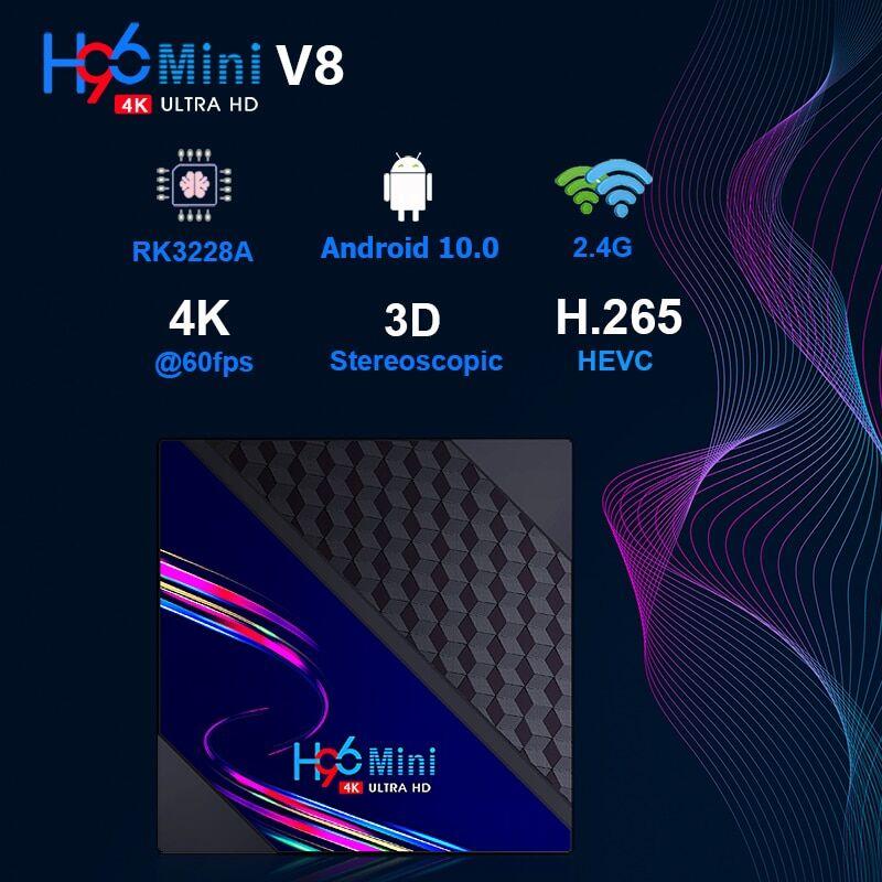 AliExpress Livraison directe! Boîtier Smart TV H96 MINI V8, RK3228A Quad Core, 4K HD, Android 10.0, Double