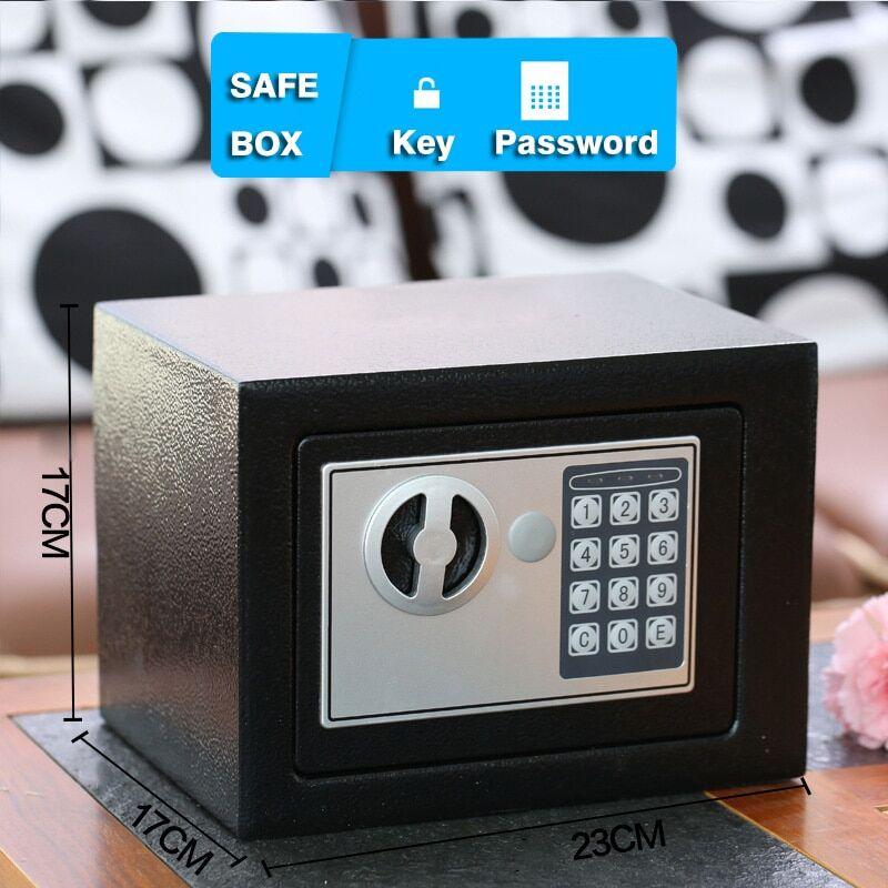 AliExpress Mini coffre-fort ménager en acier avec mot de passe/clé, boîte de sécurité pour bijoux et argent,