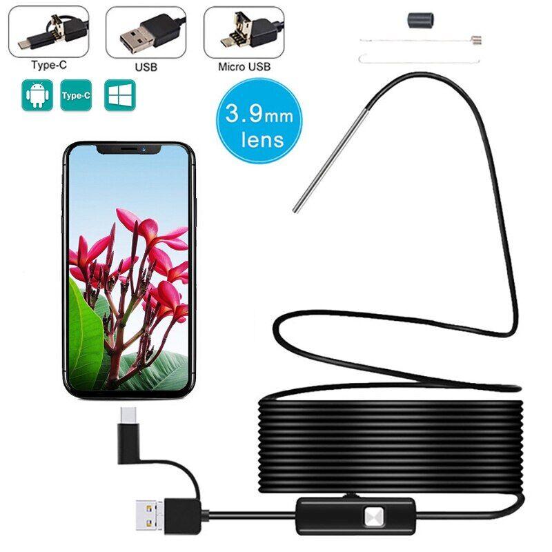 AliExpress Caméra d'inspection endoscopique 3 en 1, 3.9MM, Mini câble serpent rigide et étanche, pour téléphone
