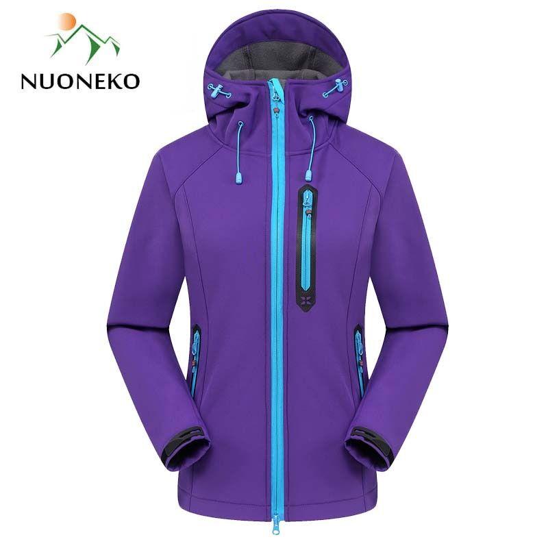AliExpress NUONEKO – veste Softshell pour femme, coupe-vent, imperméable, manteau chaud, ski, randonnée, JM05