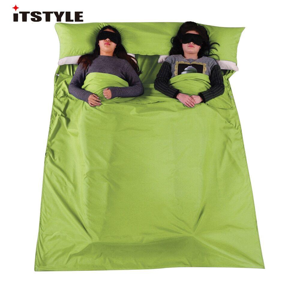 AliExpress Sac de couchage en coton avec séparateur, sacs à enveloppe simple et Double, Ultra-léger, Portable,