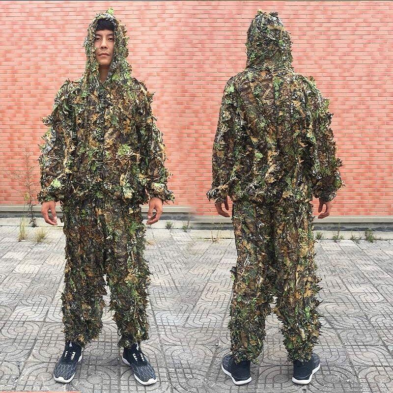 AliExpress Costumes ghillie d'extérieur pour hommes et femmes, vêtements de camouflage à feuilles pour